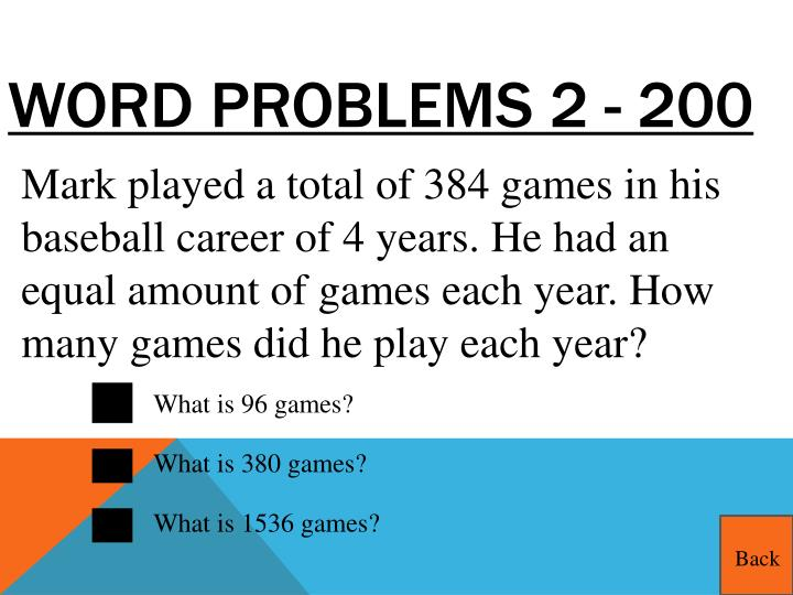 Word Problems 2 - 200