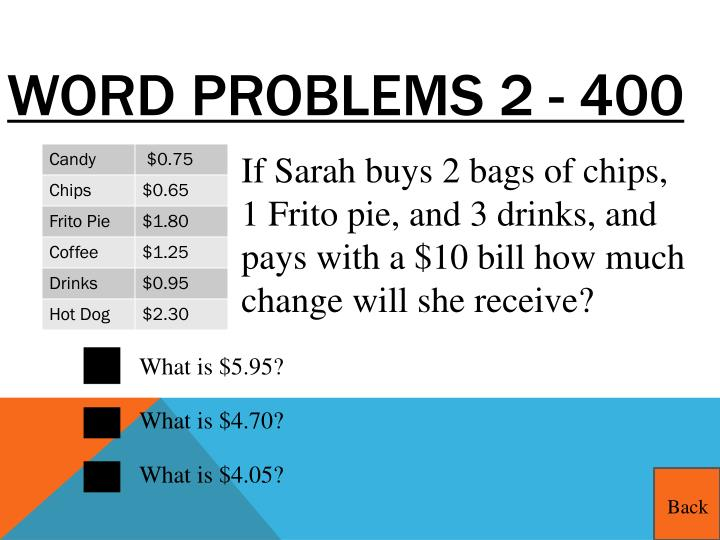 Word Problems 2 - 400