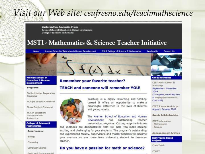 Visit our Web site: