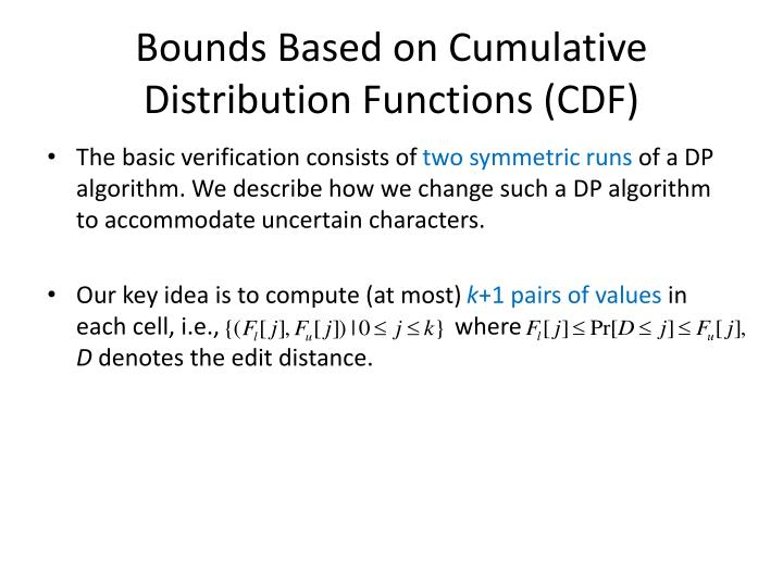 Bounds Based on Cumulative Distribution Functions (CDF)