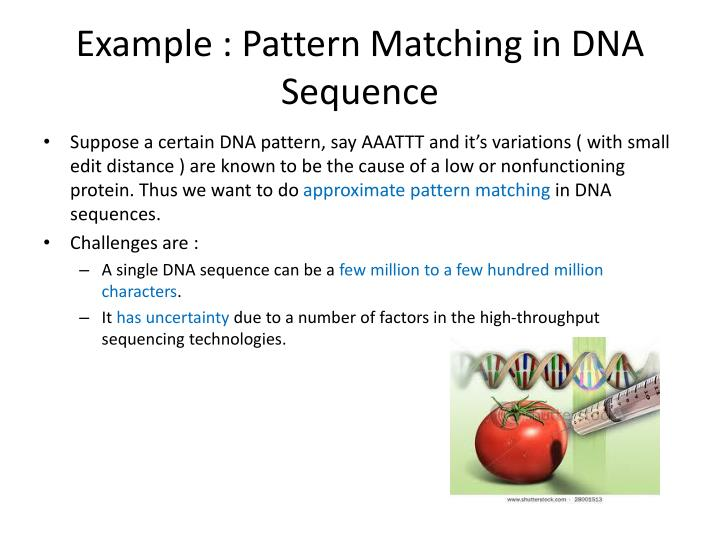Example : Pattern Matching in DNA Sequence