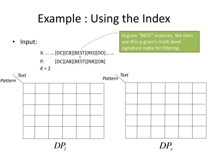 Example : Using the Index