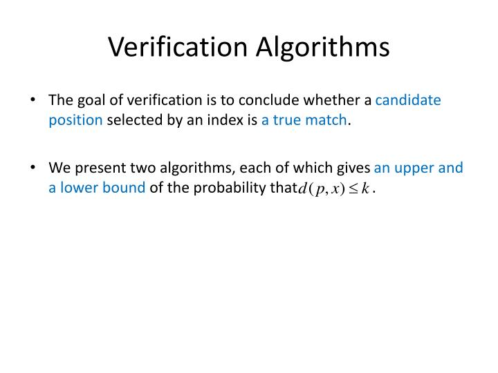Verification Algorithms