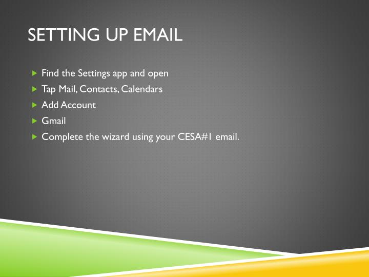 Setting up email