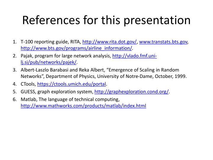 References for this presentation