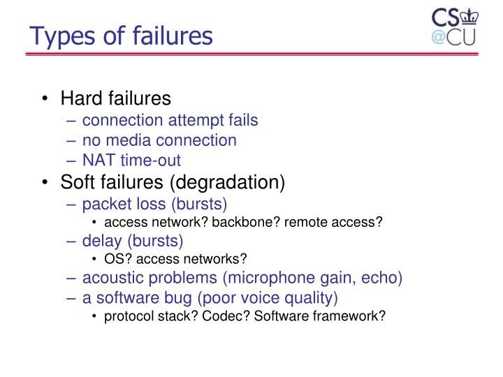Types of failures