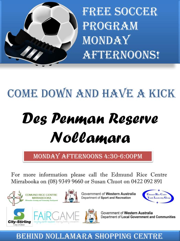 Free soccer program Monday afternoons!