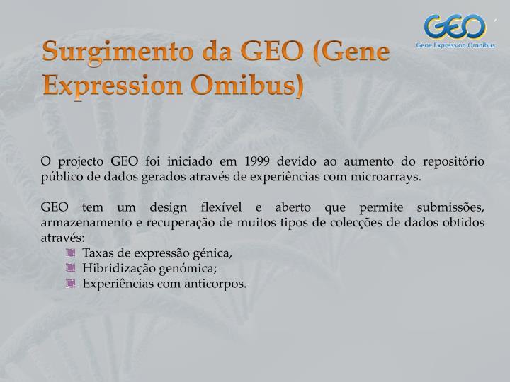 Surgimento da GEO (Gene