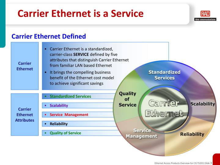 Carrier ethernet is a service