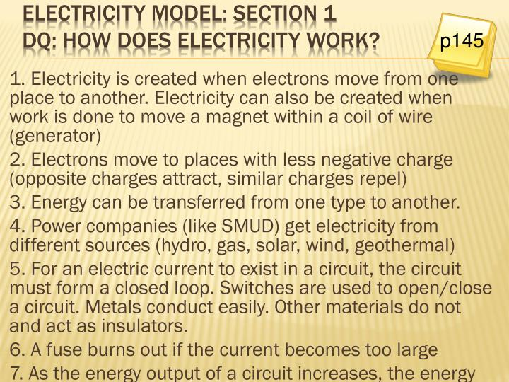 Electricity model: Section 1