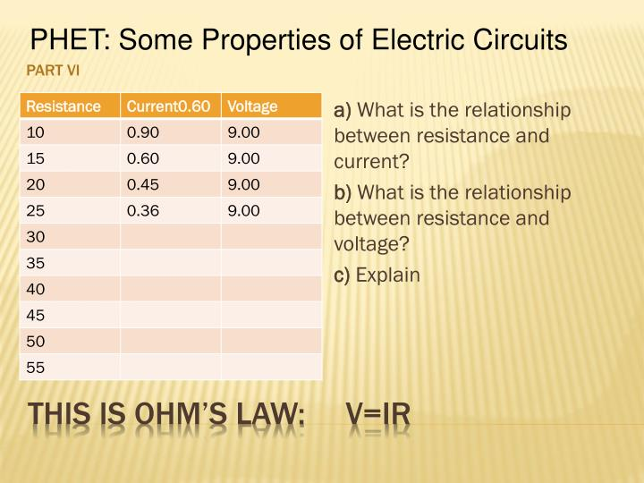 PHET: Some Properties of Electric Circuits