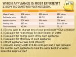 which appliance is most efficient 1 copy the chart into your notebook