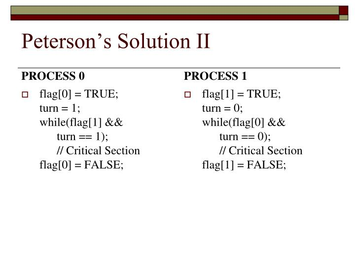Peterson's Solution II