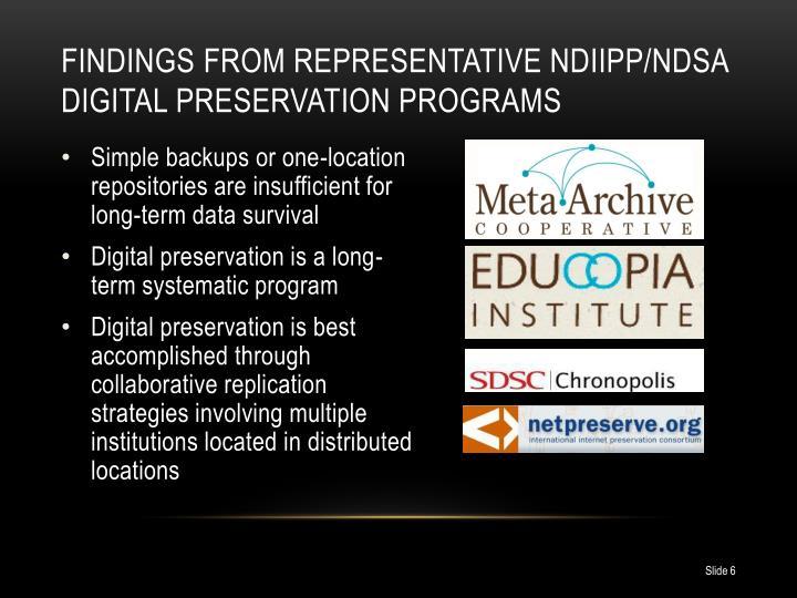 Findings from representative NDIIPP/NDSA Digital Preservation Programs