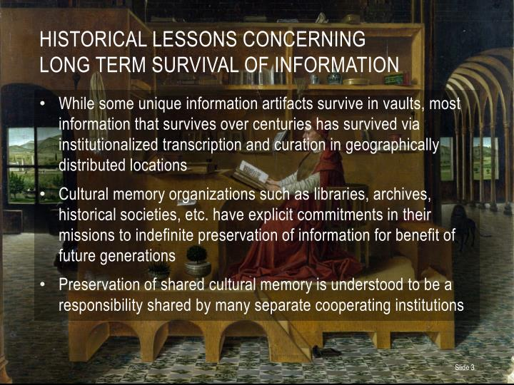 Historical Lessons Concerning
