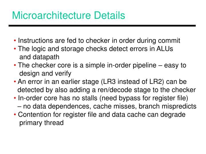 Microarchitecture Details