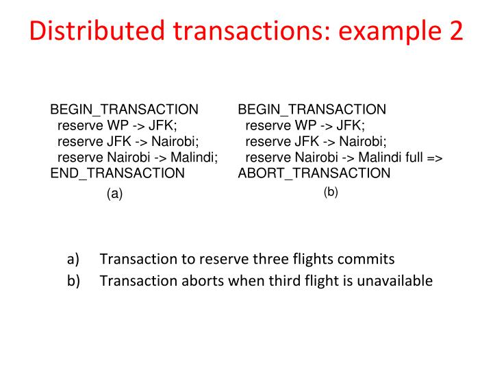Distributed transactions: example 2