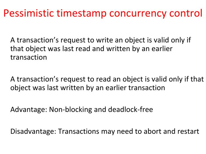 Pessimistic timestamp concurrency control