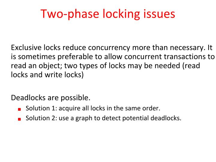 Two-phase locking issues
