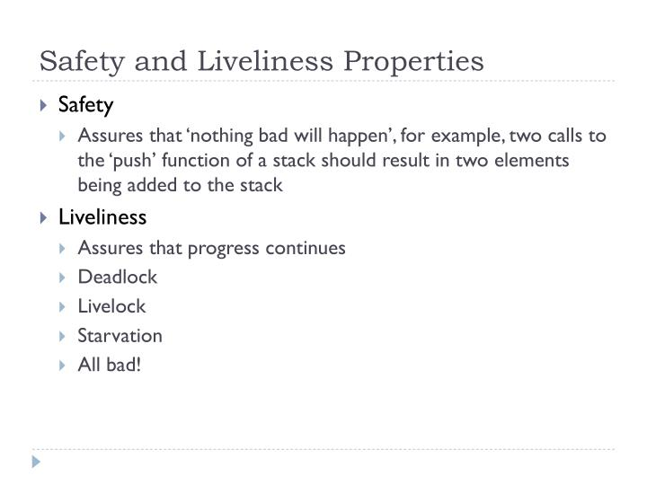 Safety and Liveliness Properties