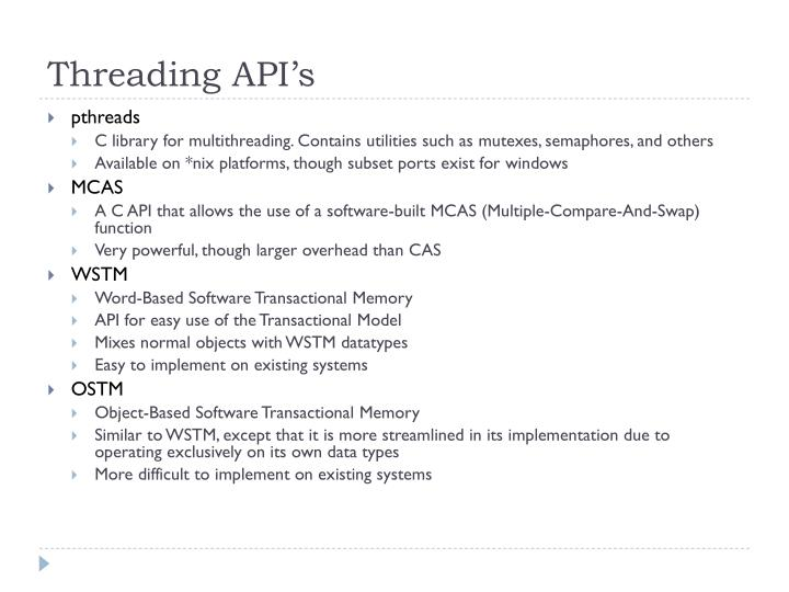 Threading API's