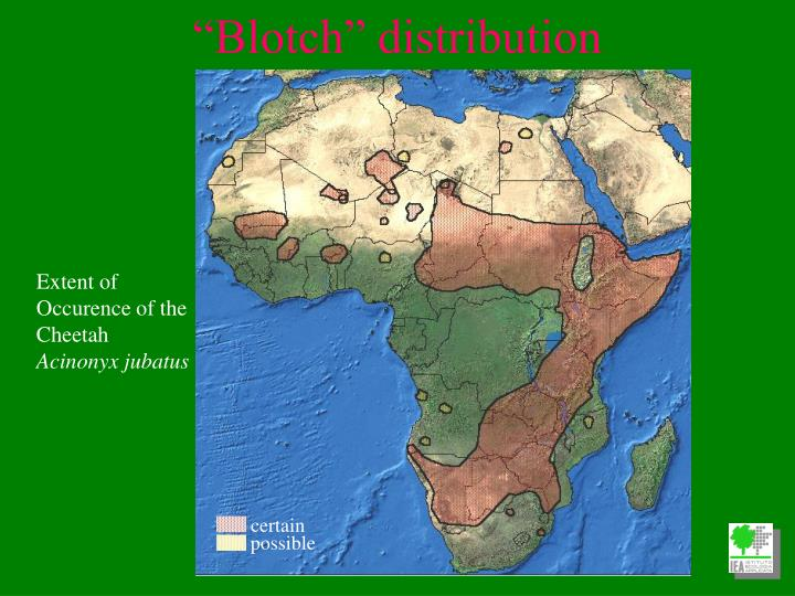 Extent of Occurence of the Cheetah