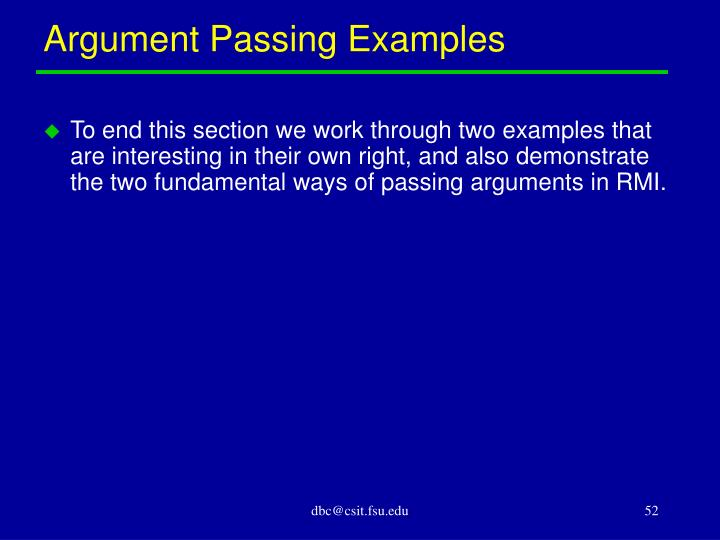 Argument Passing Examples