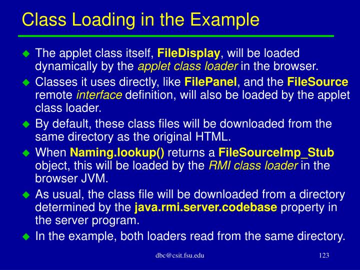 Class Loading in the Example