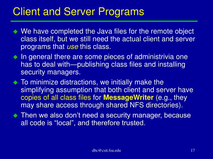 Client and Server Programs