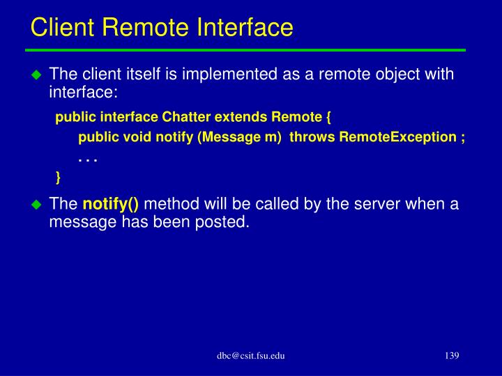 Client Remote Interface