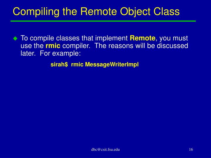 Compiling the Remote Object Class