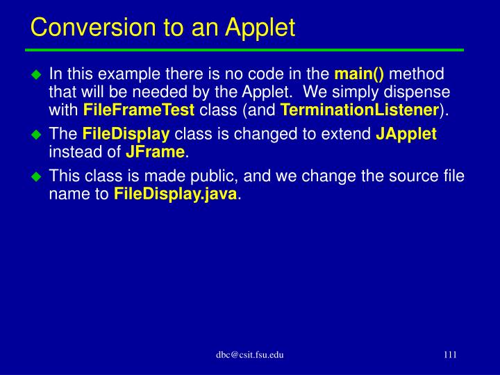 Conversion to an Applet