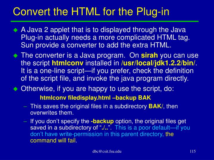 Convert the HTML for the Plug-in