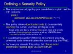 defining a security policy