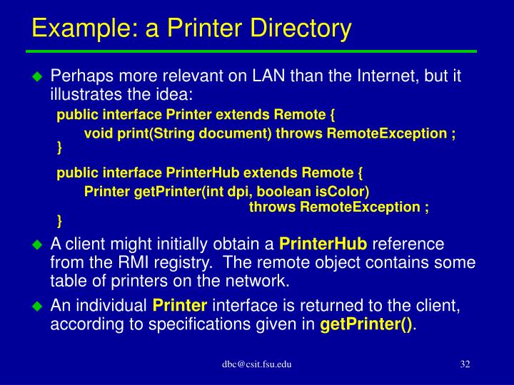Example: a Printer Directory