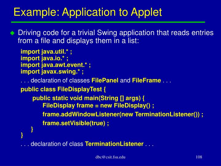 Example: Application to Applet
