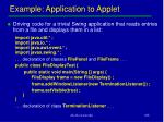example application to applet