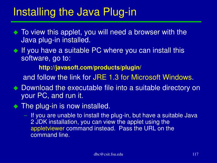 Installing the Java Plug-in
