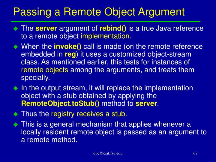 Passing a Remote Object Argument