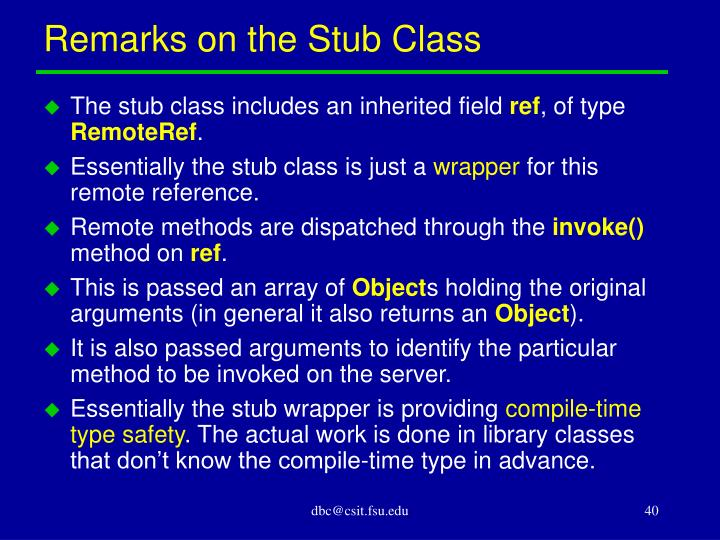 Remarks on the Stub Class