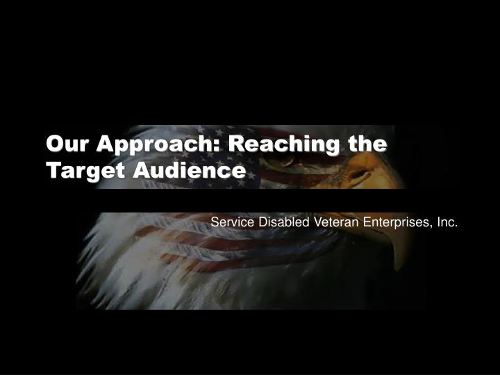 Our Approach: Reaching the Target Audience