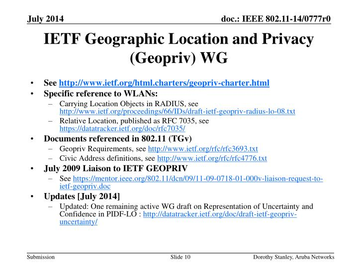 IETF Geographic Location and Privacy (Geopriv) WG