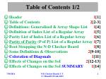 table of contents 1 2