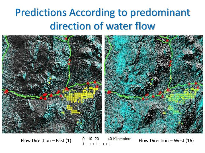 Predictions According to predominant direction of water flow