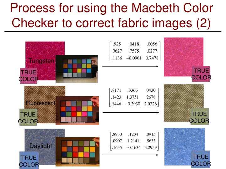 Process for using the Macbeth Color Checker to correct fabric images (2)