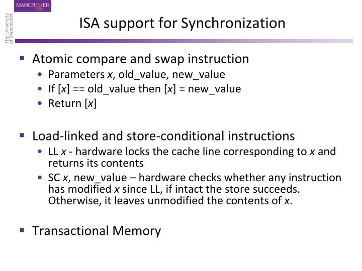 ISA support for Synchronization