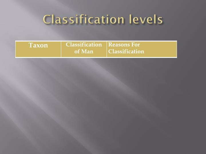 Classification levels