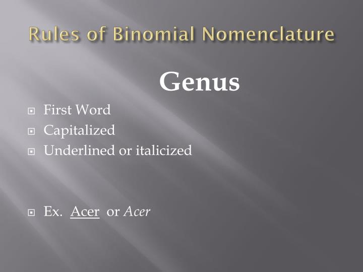Rules of Binomial