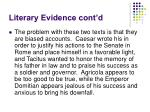 literary evidence cont d