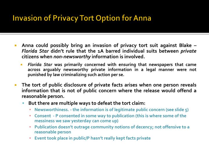 Invasion of Privacy Tort Option for Anna